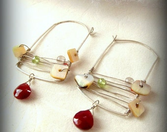 Multistone Silver Hammered Armature Earrings // Bird Cage // Chalcedony Peridot Shell Carnelian // Handmade Organic Jewelry