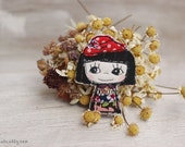 Fabric brooch, Embroidery brooch, Handmade brooch, Textile brooch , Fabric doll brooch, Applique brooch, Stitched brooch, Girl jewellery