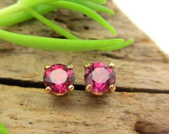 Pink Garnet Rhodolite Studs - Genuine Pink Garnet Rhodolite Stud Earrings, Real 14k Gold, Platinum, or Sterling Silver - 4mm
