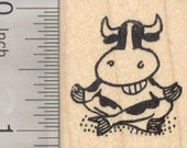 Meditating Grinning Cow Rubber Stamp, Oom, Mindfulness D28512 Wood Mounted