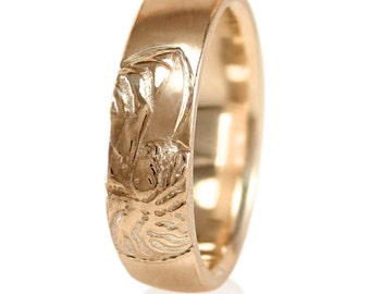 Nautilus Rose Gold Mens Wedding Band in 10k Gold, 14k Gold, 18k Gold, or Palladium, Handmade to Your Size