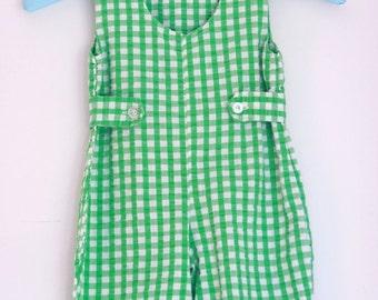 Vintage toddler romper green gingham 12 to 18 months