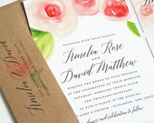NEW Amelia Watercolor Rose Floral Wedding Invitation Sample - Beautiful Script, Pink and Red Watercolour Flowers, Recycled Kraft Envelope