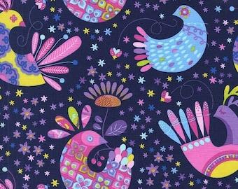 Feather Flock Navy Tamara Kate Michael Miller Fabric 1 yard
