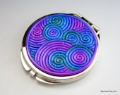 Jewel Tone Compact Pocket Mirror in Polymer Clay Filigree