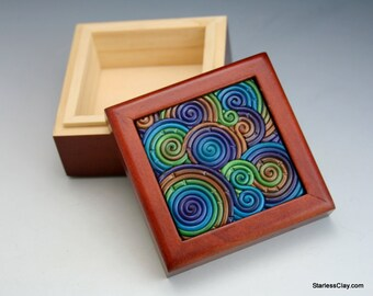 Mini Wooden Box in Peacock Fimo Filigree