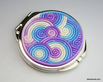 Compact Mirror in Purple, Turquoise, White Fimo Filigree