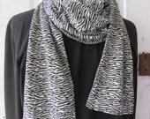 Scarf Jersey knit black and white zebra print uni sex extra long
