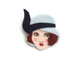 20s Flapper Felt Brooch, Fabric Brooch, Art Brooch, Wearable Art Jewelry, Mother's Day Gift