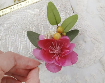 floral hair clip, pink hair flower, bridesmaid hair accessories, floral hair pin, gift for her, bridal hairpiece, yellow, flower for hair