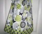 SALE,  Girl Pillowcase Dress,  Back To School, Floral Print, Butterflys, Party Dress, Holiday Dress, Green, Ready to Ship