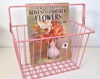 vintage basket - coated wire metal basket - pink shabby chic