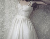 DAY Dress in Cream White or Tea Stain with matching Petticoat