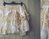 PIXIE Skirt in White Ivory Cream and Tea Stain