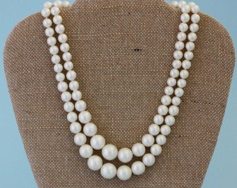 Two Strand Faux Pearl Necklace - Vintage Costume Jewelry