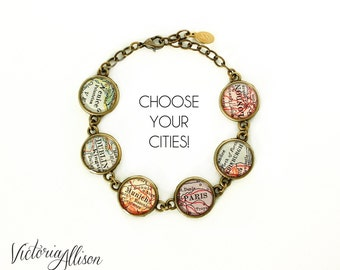 Personalized Jewelry Map Bracelet, Custom Cities, City Bracelet, Birthday Gift, Travel, Paper Anniversary, Long Distance, Gift for Her