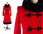 FREE US SHIP // Vintage 60s Coat // 1960s Coat // Vintage Red Coat // Princess Coat // Russian Princess // Full Length - sz L - 34 Waist