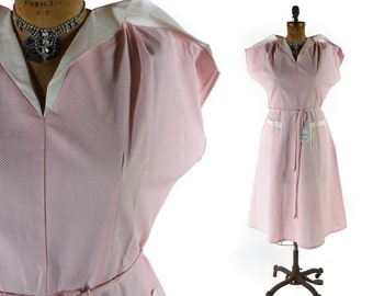 Vintage 50s Dress // 1950s Dress // 50s Plus Size Dress // Pink 50s Dress //  NOS Never Worn Dress - sz XL - 36-37 Waist