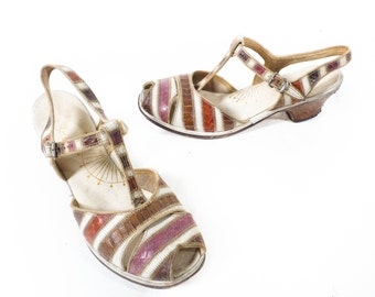 Vintage 40s Heels // 1940s Heels // Striped Heels // Reptile Heels //T-Strap Peep Toe Low Heels - sz 8 - 8.5 M