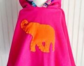 Elephant Poncho Fleece Elephant Cape Boho Jacket Girls Fleece Girls Pink Cape by The Trendy Tot