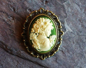 Small green cameo brooch, greek cameo brooch, antique brass brooch, lapel pin, cameo jewelry, holiday gift ideas, gift ideas for mom