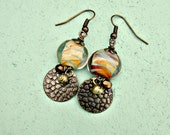 Dichroic Yellow Glass and Rustic Brass Dangle Earrings: Sunset