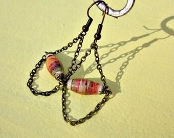 Rustic Brass Chain Chandelier Dangle Earrings featuring Orange Salvaged Paper Beads: Rhett