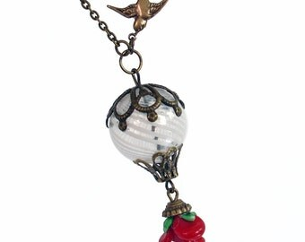 Love's Light Wings - Hot Air Balloon Necklace Handmade Jewelry Jewellery