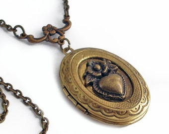 Oval Bronze Locket Necklace - Secrets of the Heart