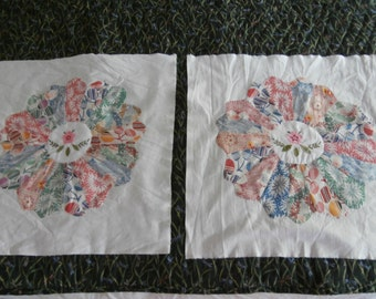 2 VINTAGE DRESDEN PLATES Quilt Block pair for Crafting May be Feedsack or Rayon