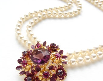 Art deco statement necklace, Beadwork, vintage bridal jewelry, enamel flower brooch, Amethyst Swarovski crystal pearl necklace, gift for her