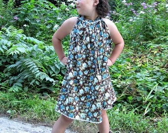 Girl's Dress, Bohemian dress, flower girl dress, vintage dress, calico, turquoise roses, infant dress, toddler, sizes Newborn to 7/8Y