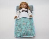 "Large 18"" Doll Sleeping Bag -  Michael Miller Eiffel Tower Fabric"