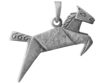 Origami Horse Pendant Charm -- Complimentary Ribbon or Cord