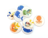 """8 Scuba Diver, Scuba Diving or Snorkeling Sea Life Buttons.  Diver, Octopus, Fish, Dolphin, Whale 3/4"""" or 20 mm."""