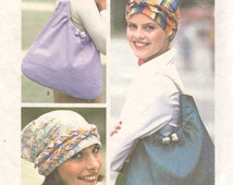 1970s Simplicity 7359 Misses Chemo Cancer Head Scarf Hat TURBAN Big Bag Pattern Accessories  Womens Vintage Sewing Pattern  One Size