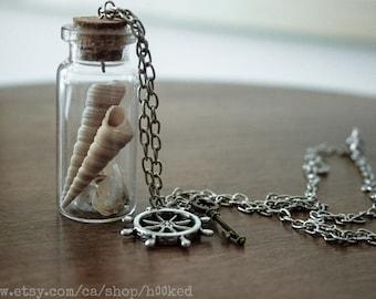 Bottled treasure - NAUTICA - SEASHELLS - Natural history specimen pendant necklace