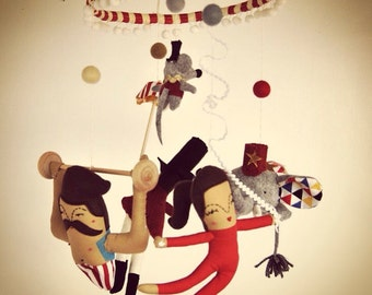 A vintage inspired circus mobile // Circus Elephant, Acrobat, Strong Man // Perfect for quirky new parents