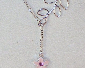 Swarovski Crystal Jewelry - Lariat Necklace - Pink Posey and Silver Leaf