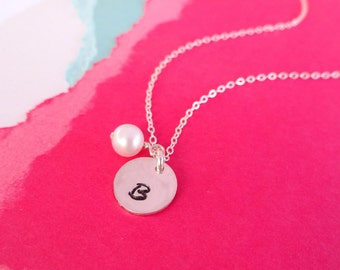 Small Letter Necklace with birthstone, Minimal jewelry, bridesmaid gifts, personalized necklace, simple initial necklace, sterling silver