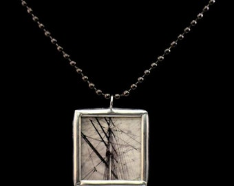Cutty Sark Ship Rigging Soldered Necklace Greenwich England London Photograph - Free Shipping in US -