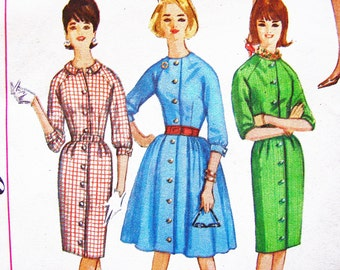 1960s Dress Pattern Misses size 12 Ladies Shirt Dress Pattern with Full Skirt or Slim Skirt Vintage Sewing Pattern for Women