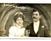 Art Nouveau - WEDDING MEMORY- COUPLE in their Romantic Wedding Garment- Vintage French real Photo Portrait Postcard, written- Good Condition