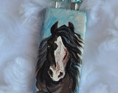 Vanner Gypsy Horse Draft Pendant Wooden Tile Necklace Hand Painted Artist Signed OOAK Whoa Team
