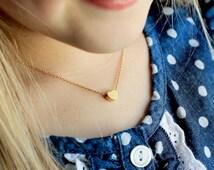 Children's Heart Necklace - Flower Girl Necklace Gold Silver Rose Gold Heart Childrens Kids Child Flower Girl Gift Flower Girl Jewelry