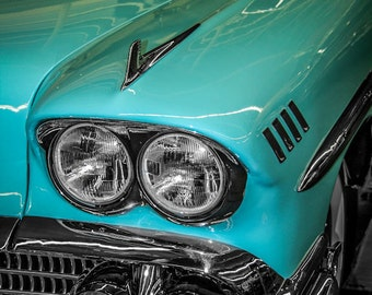 1958 Chevrolet Impala Car Photography, Automotive, Auto Dealer, Muscle, Sports Car, Mechanic, Boys Room, Garage, Dealership Art
