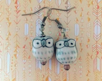 WISE GUYS - Grey Owl Earrings- Woodland Hipster Jewelry