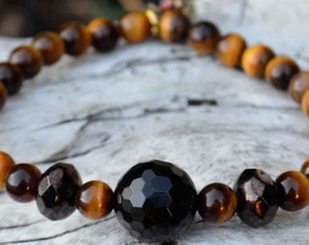 Onyx & Tiger Eye Accented with Vintage Glass Crystals Healing Stone Beaded Stretch Cord Bracelet (Unisex)