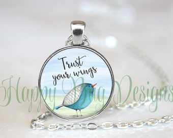 """Trust Your Wings Changeable 1"""" Magnetic Pendant Necklace with Organza Bag"""