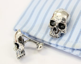 Skull Cufflinks in Solid Sterling Silver Half Skull Cuff Links Keith Richards Style 246